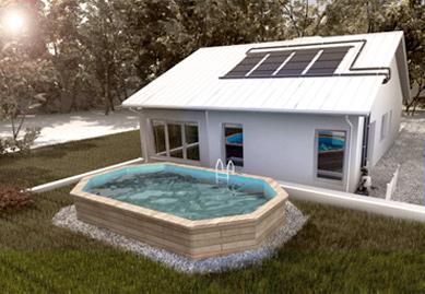 piscine semi-creusée avec capteurs sur un toit